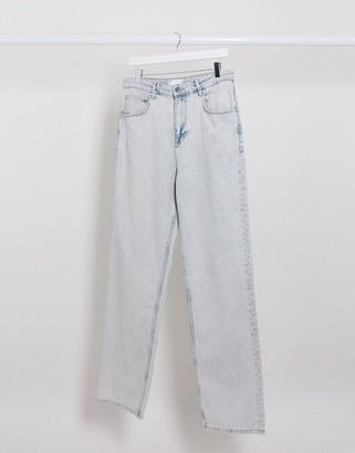 ASOS DESIGN high waist relaxed jean in light wash blue