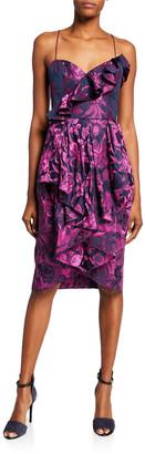 Flor Et. Al Shelley Sweetheart Floral Jacquard Sleeveless Ruffle Dress