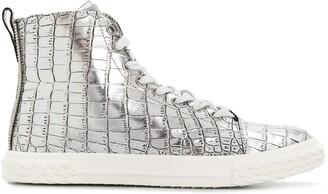 Giuseppe Zanotti metallic croco sneakers