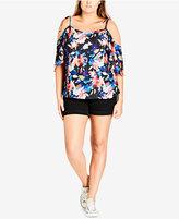 City Chic Trendy Plus Size Floral-Print Cold-Shoulder Top