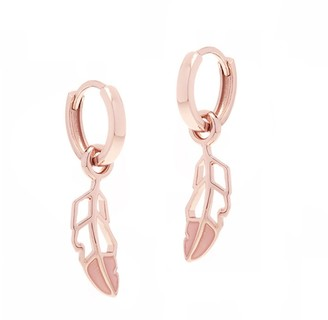 All We Are Feather Hoop Earring - Pink