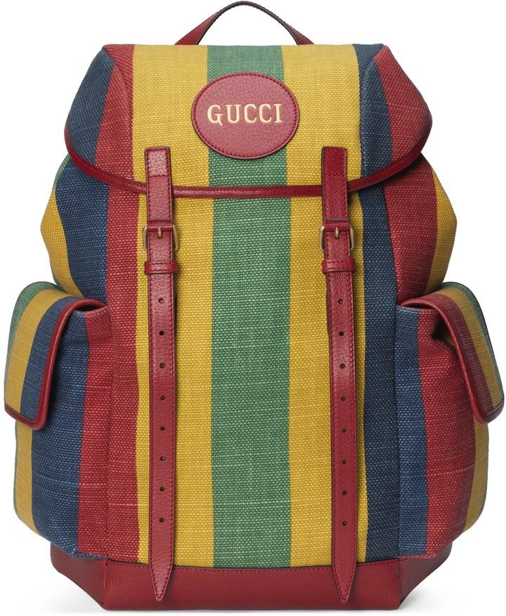 Gucci Baiadera stripe canvas backpack