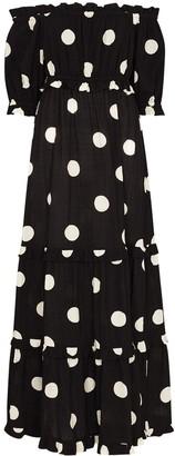 Peony Swimwear Macaroon off-shoulder polka-dot maxi dress