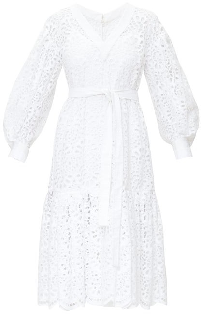 Carolina Herrera Broderie-anglais Tiered Poplin Dress - Womens - White