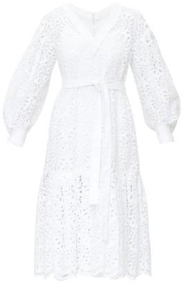Carolina Herrera Broderie-anglais Tiered Poplin Dress - Womens - White