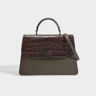 Coach Parker Top Handle 32 Bag In Green Croc Embossed Leather