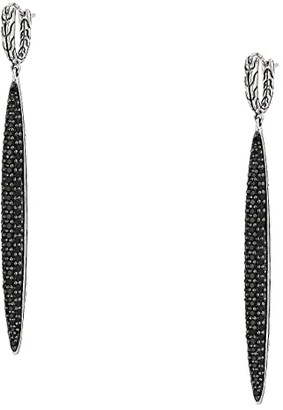 John Hardy Classic Chain Drop Earrings with Black Sapphire and Black Spinel (Silver) Earring