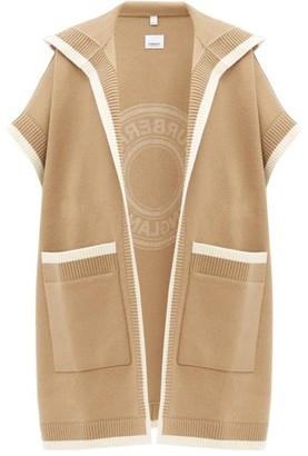 Burberry Carla Logo-jacquard Hooded Wool-blend Poncho - Beige Multi