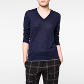 Paul Smith Women's Navy Merino Wool V-Neck Sweater