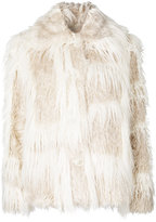 Helmut Lang fringed coat - women - Cotton/Acrylic/Cupro/Modal - S