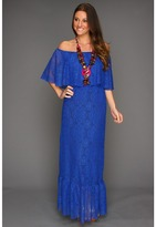 T-Bags Tbags Los Angeles - Layered Off Shoulder Smocked Waist Ruffle Maxi Dress with Necklace (Royal) - Apparel