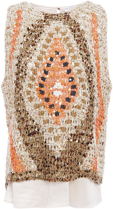 Brunello Cucinelli Layered Silk-satin And Embellished Crocheted Cotton-blend Top