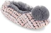 Kensie Faux Fur Pom Slippers