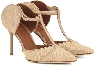 Malone Souliers Imogen 85 raffia and leather mules