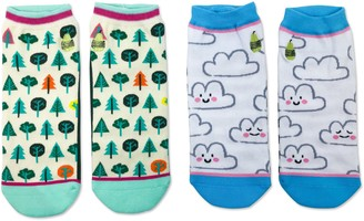 Woven Pear Happy Clouds, Little Trees Ankle Socks - 2 Pack