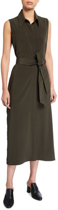 Co Belted Crepe Button-Front Sleeveless Midi Dress