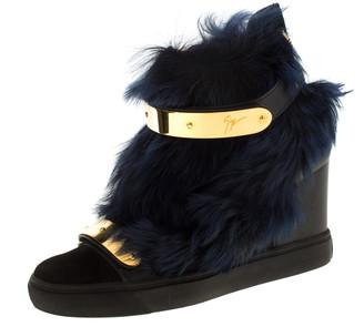 Giuseppe Zanotti Black/Blue Leather And Beaver Fur Lorenz High Top Wedge Sneakers Size 38.5