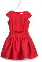 MonnaLisa belted short sleeve dress - kids - Cotton/Polyamide/Polyester - 12 yrs