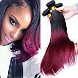 Cara Hair Ombre Hair Extensions Two Tone 1b 99j Burgundy Ombre Brazilian Straight Virgin Human Hair Extensions (22 22 22)