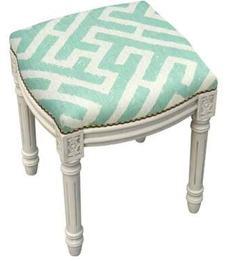 Lark Manor Aliyah Lattice Linen Upholstered Vanity Stool Lark Manor Color: Navy