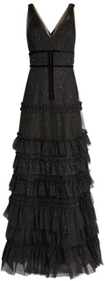 Marchesa Tiered Ruffle Gown