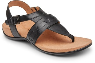 Vionic Leather Adjustable T-Strap Sandals - Lupe