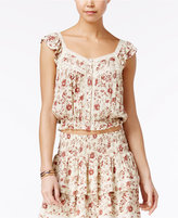 American Rag Printed Crochet-Trim Blouse, Only at Macy's