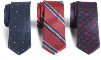 The Tie Bar 3-Pack Red Tie Gift Set