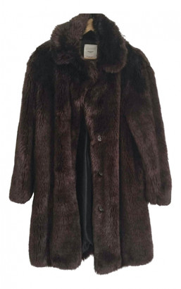 MANGO Brown Faux fur Coats