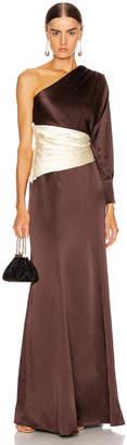 Rebecca De Ravenel One Shoulder Gown in Chocolate & Ivory | FWRD