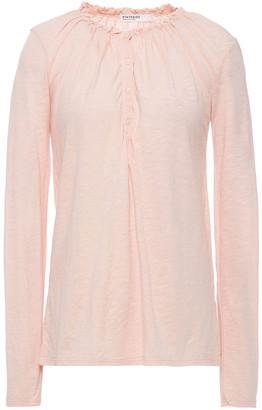 Stateside Ruffle-trimmed Slub Cotton-jersey Top