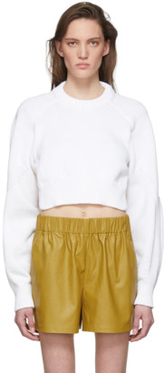 Tibi White Tube Yarn Open Back Sweater
