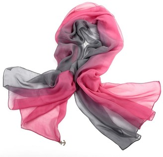 Lovesilk Scarves LoveSilk Women's 100% Silk Scarf Oblong Gradient Color Grey/Pink