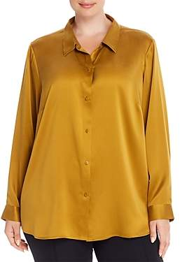 Eileen Fisher Plus Silk Classic Button-Down Shirt