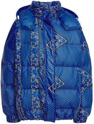 Ganni Foxworth Quilted Printed Shell Hooded Down Jacket