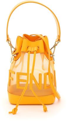Fendi MON TRESOR NET BUCKET BAG SCRIPT OS Orange Leather, Technical