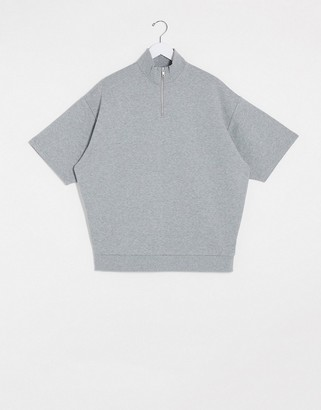 ASOS DESIGN oversized half zip short sleeve sweatshirt in grey marl