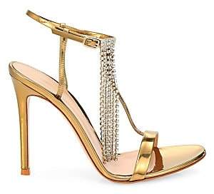Gianvito Rossi Women's Crystal-Embellished Metallic Leather Sandals