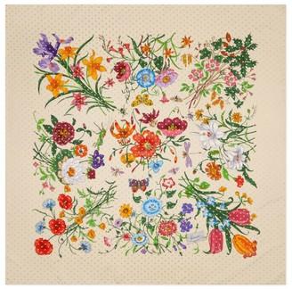 Gucci Floral Stars Silk Twill Scarf