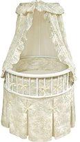 Badger Basket White Elegance Round Bassinet with Sage Toile Bedding