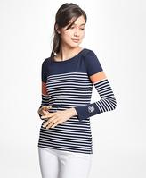 Brooks Brothers Striped Cotton Jersey Top