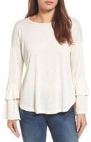 Bobeau Women's Double Ruffle Sleeve Top