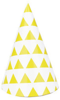 My Little Day Yellow triangles Party hats - set of 8