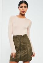 Missguided Khaki Tab Detail Zip Through Faux Suede Mini Skirt