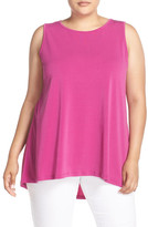 Vince Camuto Sleeveless Crepe High/Low Top (Plus Size)