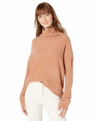 Lark & Ro Boucle Exaggerated Neck Sweater Mocha Mousse