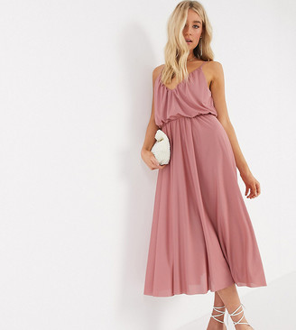 Asos Tall ASOS DESIGN Tall cami plunge midi dress with blouson top in soft pink