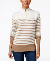 Karen Scott Striped Zip-Neck Sweater, Only at Macy's