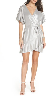 BB Dakota Metallic Ruffle Wrap Dress