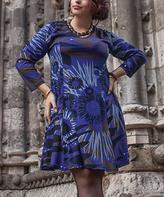 Aller Simplement Blue Abstract Shift Dress - Plus